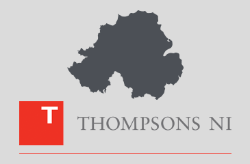 thompsons solicitors logo on light grey background with dark grey outline of northern ireland